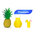 3d pineapple juice isolated on white art vector image