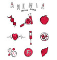 anemia doodle icons vector image vector image