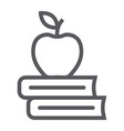 apple on the books line icon school and education vector image vector image
