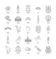 austria icons set line style vector image vector image