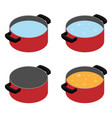 boiling soup in cooking pot vector image