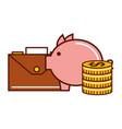 business money coins piggy briefcase vector image vector image