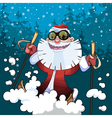 cartoon cheerful Santa Claus on skis in the woods vector image