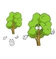 Cartoon deciduous green tree character vector image