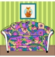 Cartoon interior with couch painted colorful vector image vector image