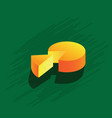 cheese icon isolated on green background vector image