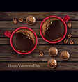 chocolates and red coffee cup realistic vector image