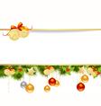 christmas pine frame 2 vector image vector image