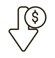 decrease money arrow financial business stock vector image vector image