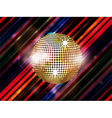 Disco ball on abstract striped background vector image vector image