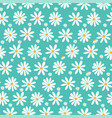 doodle white daisy flowers pattern on pastel green vector image vector image