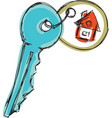 drawn colored house key vector image vector image