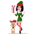 elf woman holding gift box and cute dog sitting vector image vector image