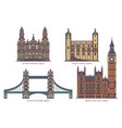 english or uk architecture landmarks in thin line vector image