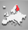 finland country location within europe 3d map vector image vector image