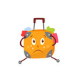 flat travel bag suitcase character crying vector image vector image