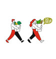 girl and man carry food in packages vector image