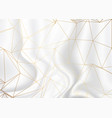 gold low poly design on silver marble texture vector image vector image