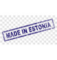 grunge made in estonia rectangle stamp vector image vector image