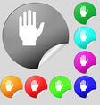 Hand print sign icon Stop symbol Set of eight vector image vector image