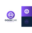 happy car logo design smile car logo design vector image vector image