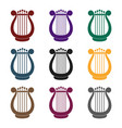 harp icon in black style isolated on whit vector image