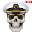 Human skull with sea captain cap on head vector image vector image