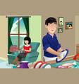 husband washing dishes vector image vector image