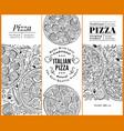 italian pizza banner set hand drawn vector image vector image