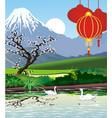 landscapes - japanese pagoda at mount fuji vector image vector image