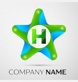 letter h logo symbol in the colorful star on grey vector image vector image