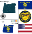 Map of Oregon with seal vector image vector image