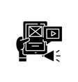 media applications black icon sign on vector image vector image