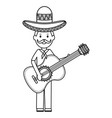 mexican man with guitar character vector image vector image