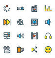 multimedia icons colored line set with megaphone vector image