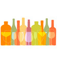 outline wine bottles and glasses silhouettes vector image