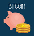 piggy savings with bitcoin business vector image vector image