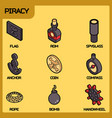 piracy color outline isometric icons vector image