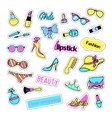 Pop art set with fashion patch badges and girls vector image