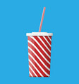red striped paper glass with drinking straw vector image vector image