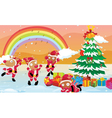 reindeers celebrating christmas vector image