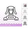 Robot dog simple black line icon