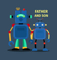 robots father and son vector image vector image