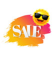 sale text with paint sun and suglasses vector image
