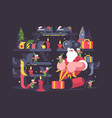 santa claus and elves pack gifts vector image vector image