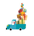 santa truck car and christmas gifts holiday vector image vector image