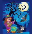 scene with halloween theme 9 vector image vector image