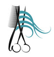 scissors and comb design vector image vector image