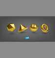 set realistic golden geometric forms isolated vector image