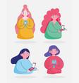 set women using smartphone device cartoon vector image